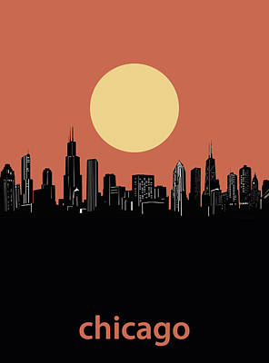 Skylines Royalty-Free and Rights-Managed Images - Chicago Skyline Minimalism 4 by Bekim Art