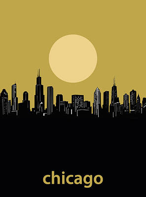 Skylines Royalty-Free and Rights-Managed Images - Chicago Skyline Minimalism 5 by Bekim Art
