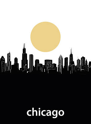 Skylines Royalty-Free and Rights-Managed Images - Chicago Skyline Minimalism by Bekim Art