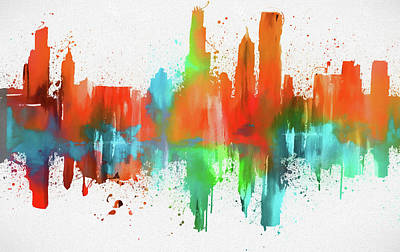 Painting - Chicago Skyline Modern Abstract by Dan Sproul