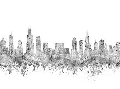Digital Art Royalty Free Images - Chicago Skyline Music Notes Royalty-Free Image by Bekim Art