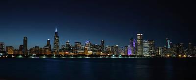 Adler Wall Art - Photograph - Chicago Skyline Panorama At Night by Steve Gadomski