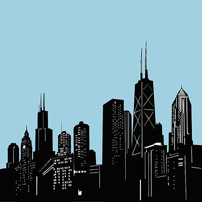 Skylines Royalty-Free and Rights-Managed Images - Chicago Skyline Panorama Blue 2 by Bekim Art
