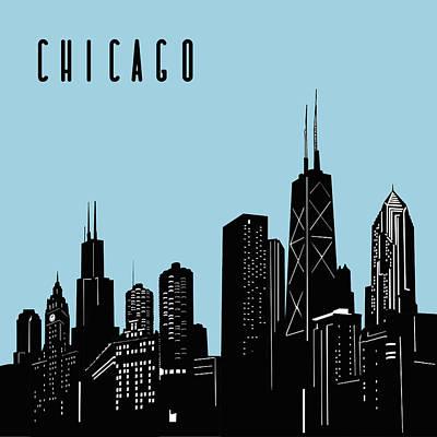 Digital Art Royalty Free Images - Chicago Skyline Panorama Blue Royalty-Free Image by Bekim Art
