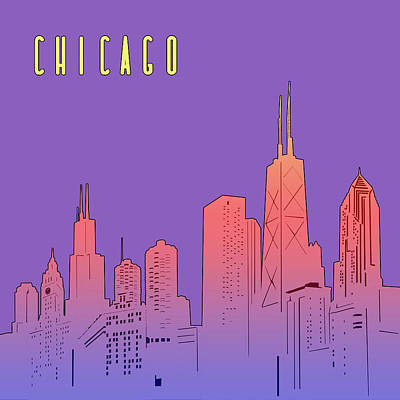 Skylines Royalty-Free and Rights-Managed Images - Chicago Skyline Panorama Purple by Bekim Art