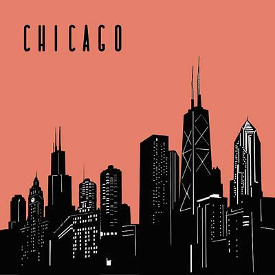 Digital Art Royalty Free Images - Chicago Skyline Panorama Red Royalty-Free Image by Bekim Art