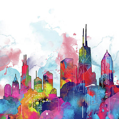 Skylines Royalty-Free and Rights-Managed Images - Chicago Skyline Panorama Watercolor 2 by Bekim Art