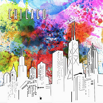 Digital Art Royalty Free Images - Chicago Skyline Panorama Watercolor Royalty-Free Image by Bekim Art