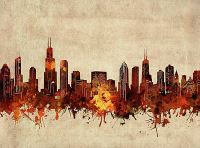 Abstract Skyline Royalty-Free and Rights-Managed Images - Chicago Skyline Sepia by Bekim M