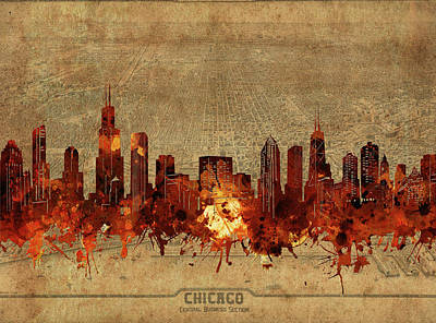 Skylines Royalty-Free and Rights-Managed Images - Chicago Skyline Vintage 2 by Bekim Art