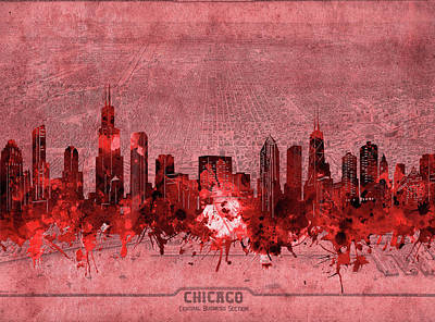 Skylines Royalty-Free and Rights-Managed Images - Chicago Skyline Vintage 3 by Bekim Art