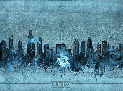 Skylines Royalty-Free and Rights-Managed Images - Chicago Skyline Vintage 4 by Bekim Art
