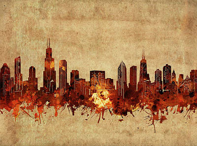 Skylines Royalty-Free and Rights-Managed Images - Chicago Skyline Vintage by Bekim Art