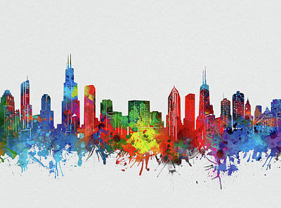 Skylines Royalty-Free and Rights-Managed Images - Chicago Skyline Watercolor 2 by Bekim Art