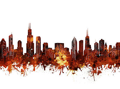 Skylines Royalty-Free and Rights-Managed Images - Chicago Skyline Watercolor 6 by Bekim Art