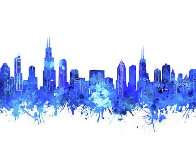 Skylines Royalty-Free and Rights-Managed Images - Chicago Skyline Watercolor Blue by Bekim Art