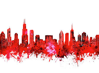 Abstract Skyline Royalty-Free and Rights-Managed Images - Chicago Skyline Watercolor Red by Bekim M