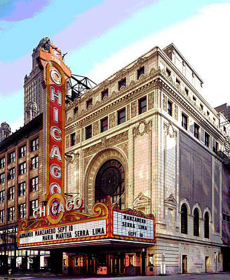 City Sunset Mixed Media - Chicago Theater by Charles Shoup