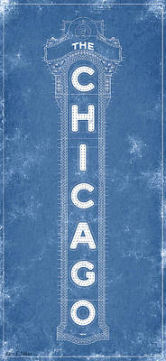 Digital Art - Chicago Theatre Sign - Blueprint by Mark Tisdale