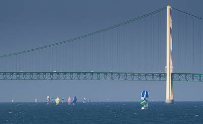Photograph - Chicago To Mackinac Yacht Race Sailboats With Mackinac Bridge by Rick Veldman