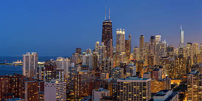 Royalty-Free and Rights-Managed Images - Chicagos Streeterville at Dusk Panoramic by Adam Romanowicz