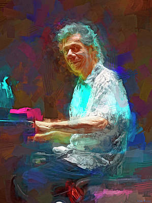 Jazz Mixed Media Royalty Free Images - Chick Corea Royalty-Free Image by Mal Bray