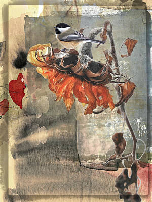 Photograph - Chickadee And Sunflower  by Bellesouth Studio