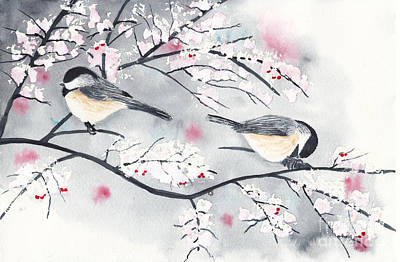 Priska Wettstein Land Shapes Series - Chickadees in Winter with Red Berries by Conni Schaftenaar