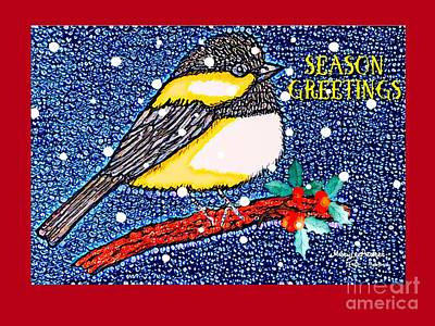 Mixed Media -  Chickedee Season Greeting Card  by MaryLee Parker