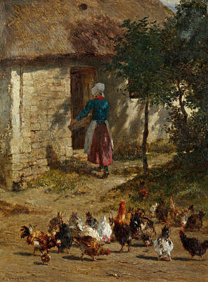 Painting - Chickens In Front Of A Farmhouse by Constant Troyon