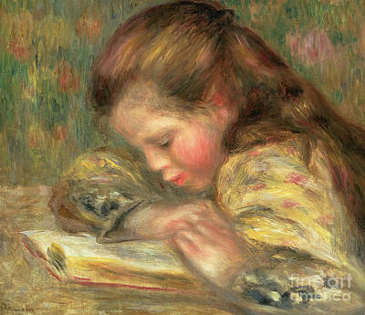 Painting - Child Reading, 1890  by Pierre Auguste Renoir