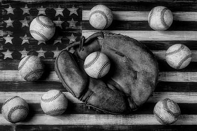 Photograph - Childhood Catchers Mitt On Flag In Black And White by Garry Gay