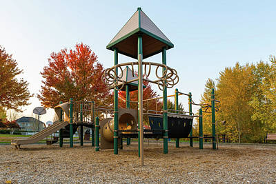Wall Art - Photograph - Children Playground In Neighborhood Park In Fall Season by David Gn