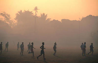 Photograph - Children Playing Soccer At Sunset, Tha by John Elk Iii