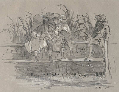 Drawing - Children Sitting On A Fence by Winslow Homer