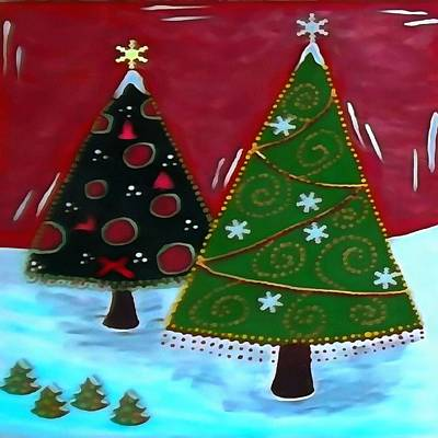 Painting - Childrens Naive Christmas Tree Design by Taiche Acrylic Art