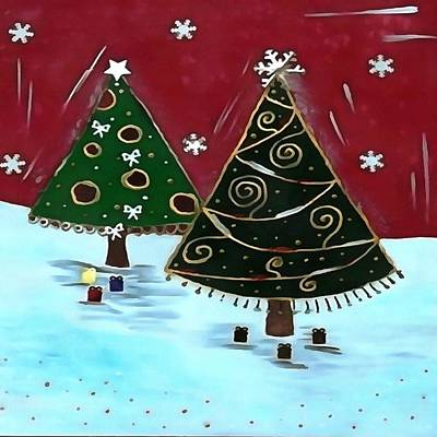 Painting - Childrens Primitive Christmas Tree Design by Taiche Acrylic Art
