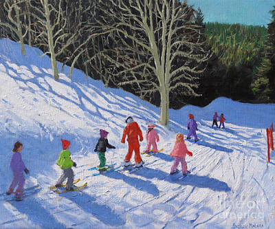 Painting - Childrens Ski Lesson, Courchevel To La Tania  by Andrew Macara