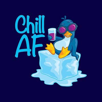 Animals Digital Art - Chill AF Penguin on Ice by John Schwegel