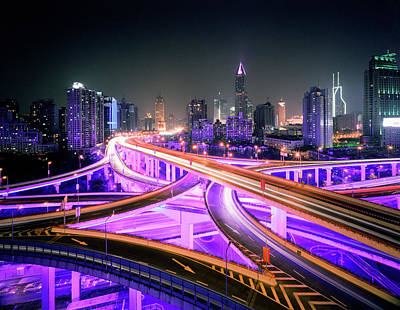 Photograph - China, Shanghai, Road Intersection At by Martin Puddy