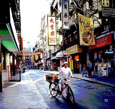 City Sunset Mixed Media - Chinatown New York City by Charles Shoup