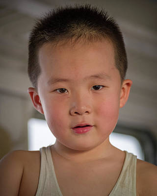 Photograph - Chinese Boy On Desert Train Jiayuguan Gansu China by Adam Rainoff
