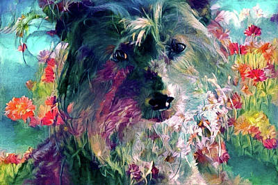Digital Art - Chinese Crested Dog In The Garden by Peggy Collins