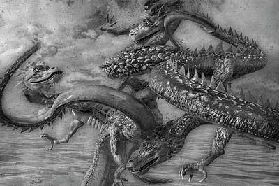 Fantasy Digital Art - Chinese Dragons in Black and White by Betsy Knapp