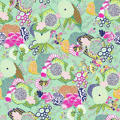 Digital Art - Chinoiserie Decorative Floral Motif Pale Mint by Sharon Mau