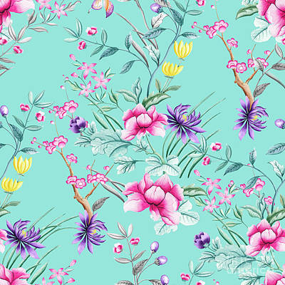 Digital Art - Chinoiserie Decorative Floral Motif Pale Turquoise by Sharon Mau