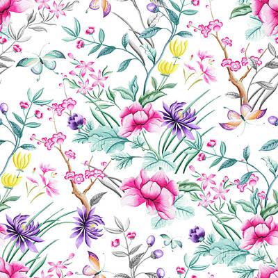 Digital Art - Chinoiserie Decorative Floral Motif by Sharon Mau