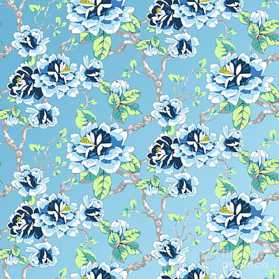 Digital Art - Chinoiserie Ming Style Blue Floral Pattern by Sharon Mau