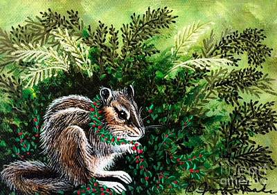 Painting - Chipmunk In Fern by Jennifer Lake