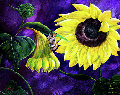 Chipmunks Wall Art - Painting - Chipmunk In Sunflowers by Laura Iverson